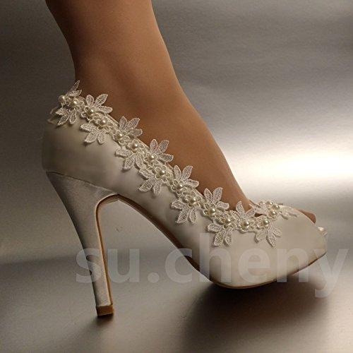 Jingxinstore Perle Dentelle À Bout Ouvert En Soie Chaussures De Mariage En Cristal Blanc Mariée