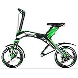 14 pollici mini bici elettrica portatile, con Bluetooth e USB, motore 300W. 15 ° Arrampicata. Batteria agli ioni di litio 48V 7AH, caricamento rapido e presto, durata di 30km. Entrambi i freni a disco (verde)