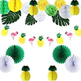 Easy Joy Ananas Mottoparty Deko Set Tropische Blätter Flamingo Fächer Pompoms