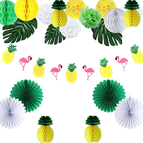 oparty Deko Set Tropische Blätter Flamingo Fächer Pompoms ()