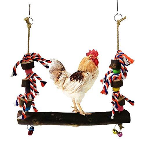 haodene Hühnerschaukel Natürlich Hölzern Chicken Stand Swing Toy Mit Glocken Buntes Handgemachtes Kauendes Kletterndes Hängen Für Großvogel-Papageienhennen