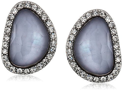 t-tahari-faceted-stone-button-silver-clip-on-earrings