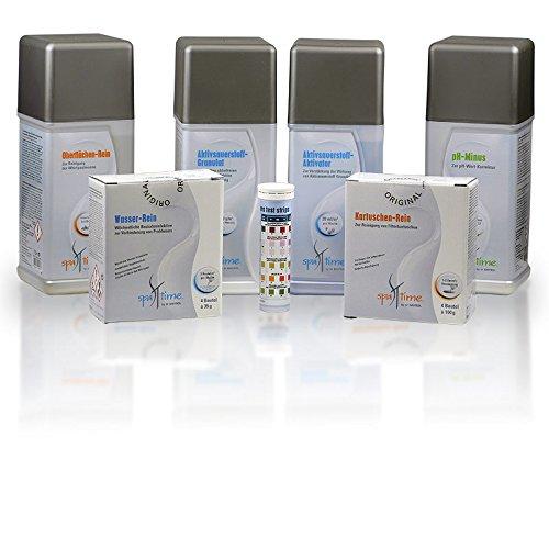 SpaTime MEGA-SPAR-SET> Aktivsauerstoff-Pflege 5,1 kg - BAYROL Spa Time - Starter Set für die Whirlpoolpflege mit Sauerstoff - pH-Minus - Teststreifen mit 5 Funktionen - Wasser-Rein - Kartuschen-Rein - Oberflächen-Rein - Mega-reines Wasser