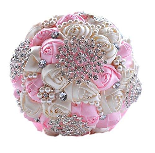 Design originale stile dell' europa sposa azienda fiori matrimonio mazzo di fiori fatto a mano di seta rosa nastro di raso con strass in cristallo spilla lusso bouquet da sposa avorio