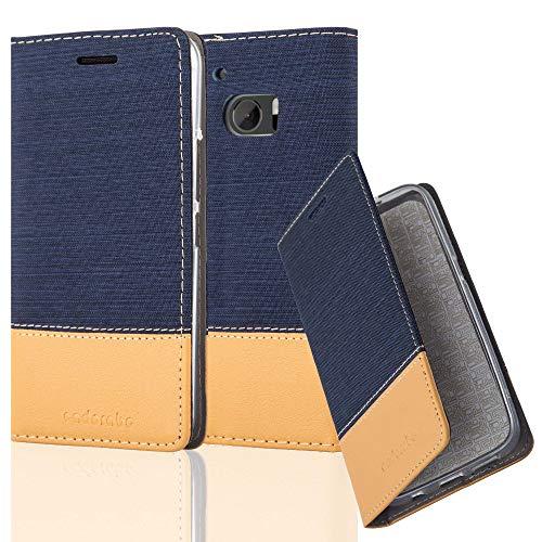 Cadorabo Hülle für HTC 10 (One M10) - Hülle in DUNKEL BLAU BRAUN – Handyhülle mit Standfunktion und Kartenfach im Stoff Design - Case Cover Schutzhülle Etui Tasche Book