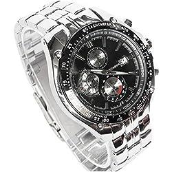 CURREN Silver Black Quartz Boys Mens Watch Stainless Steel Band Date Stylish Wrist Watch