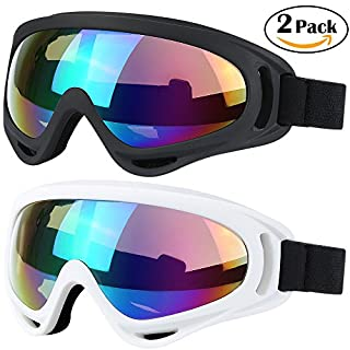 WYCTIN Goggles, 2 Pack Adjustable Simple Goggles for ski Motorcycle Bicycle Riding, Adjustable Goggles with UV Protection for Kids, Youth, Adult, Windproof, Anti-Glare Lenses