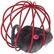 Pet Cat Kitten Funny Playing Toy Teal Fake Mouse Mice Rat in Cage Ball
