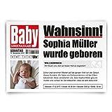 50 x Geburtskarten Geburt Babykarten individuell mit Foto Mädchen Junge als Zeitung
