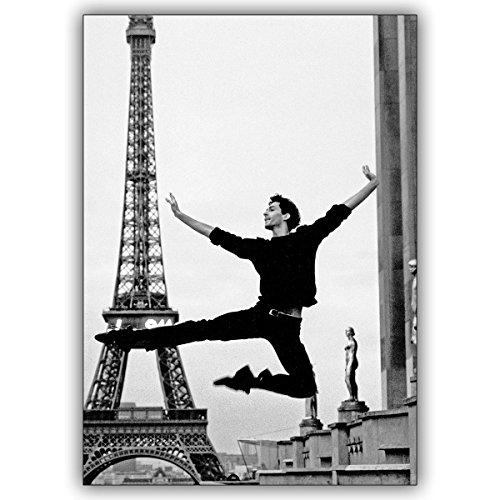 1 Tanz Grusskarte: Foto Grußkarte in schwarz weiß: Klassisches Ballett vor dem Eifelturm, Paris