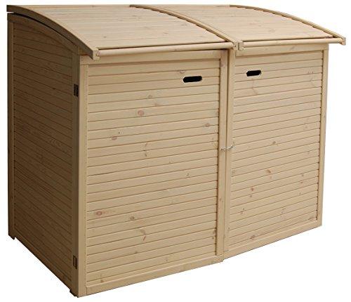 Andrewex Mülltonnenbox für 2Tonnen 156 x97 cm 240 Liter aus Holz Farbton:Cream Mülltonnenschrank Mülltonnenverkleidung