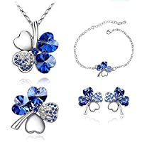 Neevas Bridal Hearts 4 Leaf Clover 4 in 1Jewelry Set: Earrings Necklace & Bracelet Brooch (Royal Blue)