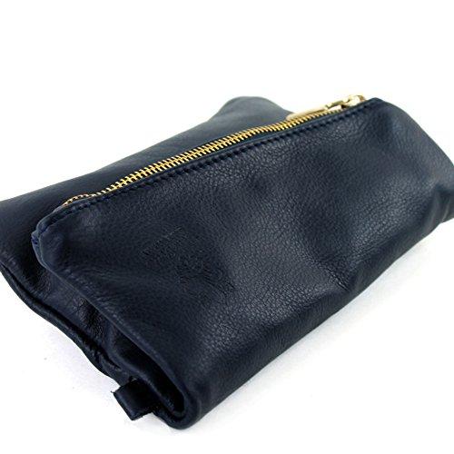 modamoda de - ital. Ledertasche kleine Damentasche Handgelenktasche Nappaleder T95 Dunkelblau