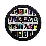 WYYWCY Moderne einfache Alphabet-Wanduhr-Innen-Nicht-tickender Stiller Quarz-ruhige Bewegung-Wand-Clcok für Büro, Badezimmer, Wohnzimmer dekorativ 9,65 Zoll