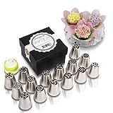 MoNiRo 28 Teiliges Spritztüllen Set - 15 Russische Edelstahl Tüllen + Silikon Spritzbeutel + Einwegspritzbeutel - Aufsätze für Blumen - Rosen - Tulpen - Deko Backset