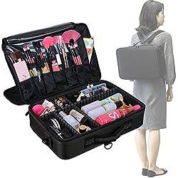 AMASAVA Bolsa de maquillaje con divisiones extraíbles Bolsa de almacenamiento cosmética Bolsas Bolsa de maquillaje cosmética 3 capas libres disponibles Se puede fijar en la caja Rojo 42.5 *13.5 *30