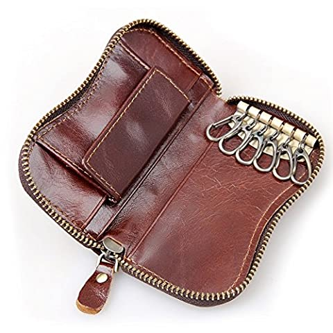 Brown Leather Key Holder With Coin Pocket, Key Wallet, Key Case, Holds 6 Keys, Secure Zip with Leather Toggle, 100% Real Leather, Unisex Key