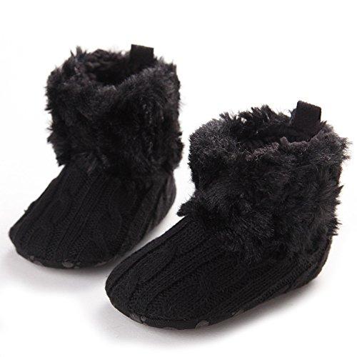 Baby-Schnee-Aufladungen weiche Unterseite Fleece Stiefel Schuhe (L: 12-18 Monate, Grau) Schwarz