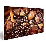 Bild Bilder auf Leinwand Sortiment von feiner Schokolade. Weiß, dunkel, Milchschokolade hautnah. Praline Schokoladenbonbons mit Nüssen und Zimt. Süßes Essen Konzept Wandbild, Poster, Leinwandbild KRZ