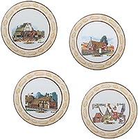 Série d'assiettes murales en céramique 29,5 cm avec bords en relief Peinture à la main avec dessin central original