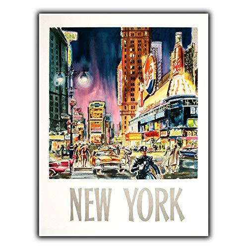 Lorenzo New York Time Square Vintage Metal Vintage Metallblechschild Wand Eisen Malerei Plaque Poster Warnschild Cafe Bar Pub Bier Club Dekoration (Square-eisen-wand-dekor)