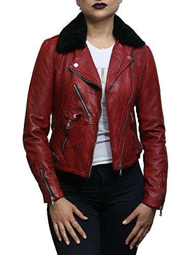 Brandslock Chaqueta Motera de Cuero roja de Mujer con Cuello Desmontable de Piel de Oveja Real (M, Rojo)