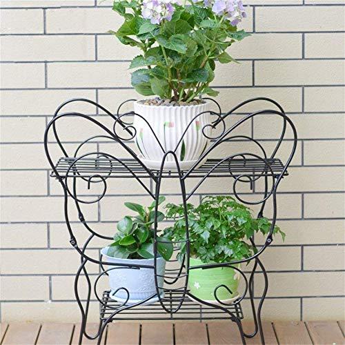 IU Desert Rose Meubles de Salon Modernes Supports/Support de Fleur d'anti-corrosif de Fer d'art de Forme de Papillon Noir, Support de Pot de Fleur Pliable à 2 Niveaux, Bon Plan