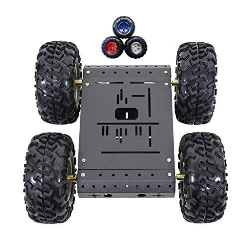 perfk 4WD Roboter Tank Chassis Panzer Plattform Metall mit DC 12V Motoren für Arduino Raspberry Pi DIY - 12V mit Code-Radmotor