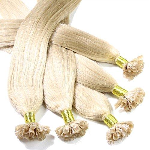 hair2heart 150 x Bonding Extensions aus Echthaar, 50cm, 1g Strähnen, glatt - Farbe 20 aschblond