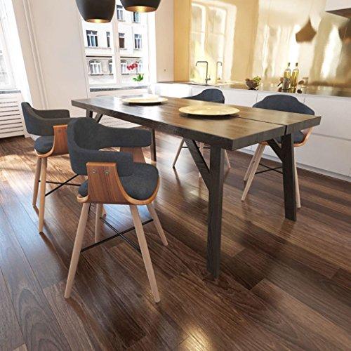 Lingjiushopping 4Stück Stühle Esszimmer aus Holz geschwungen und Stoff grau Farbe: Grau dunkel Material: Gestell aus Holz von Nussbaum + Beine Buche + Füllung Frottee + Bezug aus Stoff (Aus Stoff Tisch Nussbaum)