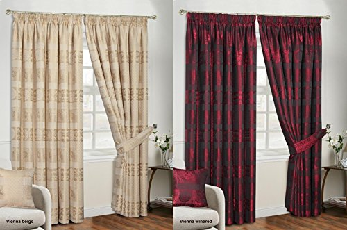 Vienna Jacquard Chenille Curtains Stunning Luxurious Stripe Floral Flowers 3