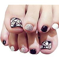 24 uñas postizas para los dedos del pie de LA HAUTE, pedicura DIY, uñas