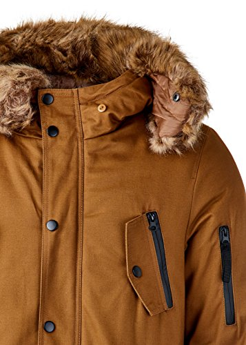 EightyFive EF7128 Herren Parka Mantel Winterjacke Kunstfell Kapuze Warm Gefüttert Teddyfell Schwarz Khaki Camel XS-XL, Größe:S, Farbe:Camel - 6
