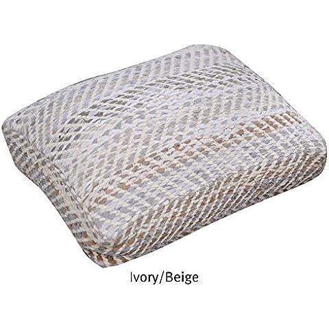 La República alfombra hecha a mano marfil/Beige Reciclado Tela Vaquera y tela Chenille Arena suelo almohada (60cm x 45cm x 15cm), 1pieza