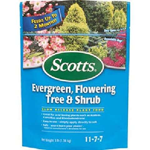 SCOTTS MIRACLE GRO - Continuous Release Evergreen Flowering Tree & Shrub 11-7-7, 3-Lb.