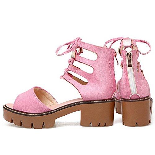 COOLCEPT Damen Mode Schnurung Sandalen Cut Out Peep Toe Blockabsatz Plateau  Schuhe Zipper Rosa ...