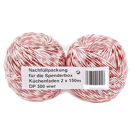 Küchengarn 2 x 150 m Küchenfaden Baumwolle rot/weiß Wurstgarn