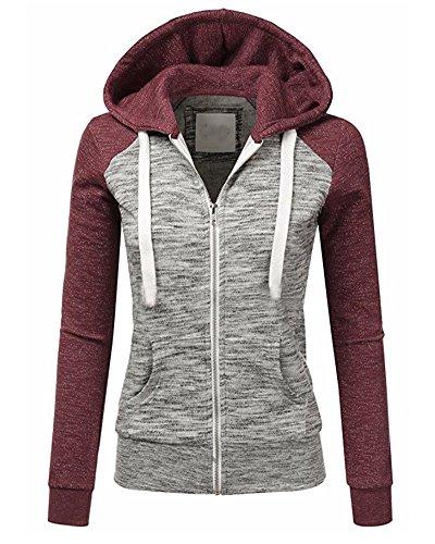 Minetom Derby Zip Damen Sweatjacke Kapuzen-Jacke Zip-Hoodie mit Kapuze aus hochwertiger Baumwollmischung Grau Rot DE 42 (Derby Denim)