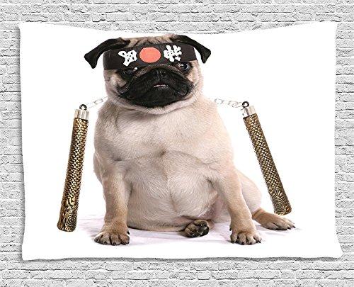 Gobelin, Ninja Welpe mit Nunchuk Karate Hund Eastern Warrior Kostüm Mops Bild inspiriert zum Aufhängen, für Schlafzimmer Wohnzimmer Wohnheim, 60W x 40L Zoll, cremefarben schwarz gold, Textil, Multi 1, 80