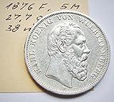 orig.Silbermünze 5 Mark 1876 F - Karl König von Württemberg - mit Echheitszertifikat