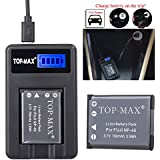 TOP-MAX® NP45,NP-45,NP-45A,NP45A,NP-45B Rechargeable Li-ion Battery + USB Charger for FujiFilm FinePix XP50, XP60, Z10fd, Z20fd, Z30, Z31, Z33WP,J100, J100W, J120, J150W,Z200FD Digital Cameras