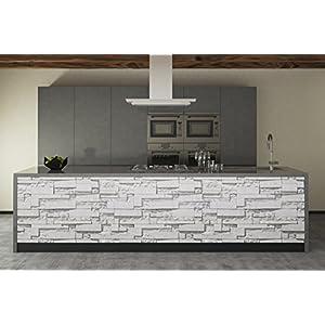 Artesive ST-03 Pietra Modern White larg. 50 cm AL METRO LINEARE - Pellicola Adesiva in vinile effetto mattoni per interni per rinnovare mobili, porte e oggetti di casa