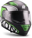 """Soxon  ST-1000 Race """"Green"""" (Grün)  Integral-Helm  Roller Cruiser Sturz-Helm Scooter-Helm Motorrad-Helm Full-face  ECE zertifiziert  inkl. Sonnenvisier  Click-n-Secure Verschluss  XXL (63-64cm)"""