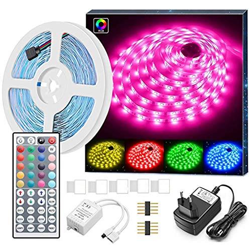 TianranRT Auto Led-Lichtleiste,5M 5050 Rgb Multicolor Led-Licht Mit Nicht Wasserdichter Fernbedienung,Weiß -