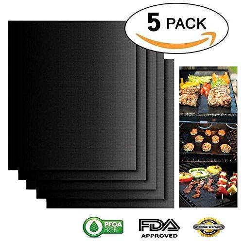 Dlife BBQ Grill-Matte Set von 5 - Non Stick Ofen Liner Teflon Kochen Matten - Ideal zum Backen auf Gas, Holzkohle, Backofen und Elektrische Grills - Wiederverwendbare, Haltbare Barbecue Sheets -