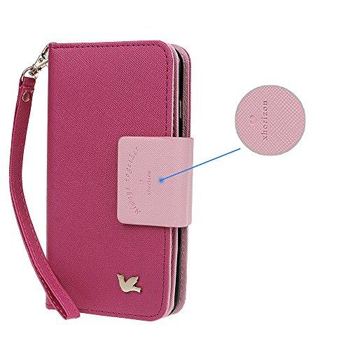 xhorizon FX Prämie Leder Folio Case [Brieftasche] [Magnetisch abnehmbar] Uhrarmband Geldbeutel Flip Mehrere Einbauschlitzen Vogel Tasche Hülle für 5.5 Zoll iPhone 6 6s Plus Rosa mit 9H ausgeglichenes GlasFilm