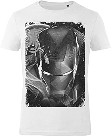 GOZOO The Avengers T-Shirt Herren Iron Man - Black & White 100% Baumwolle Weiß L
