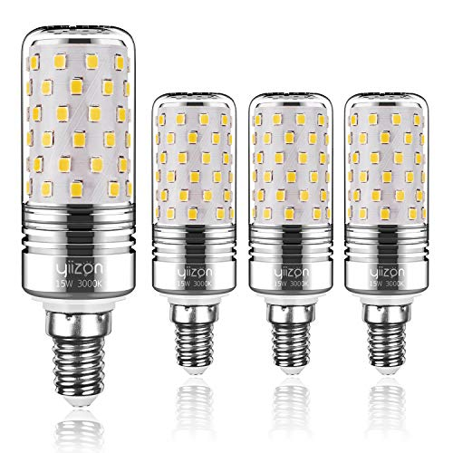 Yiizon LED M Glühbirne, E14, 15W, entspricht 120 W Glühlampe, 3000 K Warmweiß, 1500LM, CRI>80 +, kleine Edison-Schraube, nicht dimmbar Kandelaber LED Glühlampen(4 PCS) - Watt-kandelaber-sockel Licht Lampen