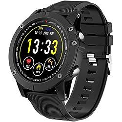 HolyHigh Montre Connectée Bluetooth Smartwatch Montre Sport Podomètre Etanche IP68 avec Cardiofréquencemètre Tensiomètre Oxymètre pour Samsung Sony Huawei Android pour Femme Homme Enfant Noir (Noir)