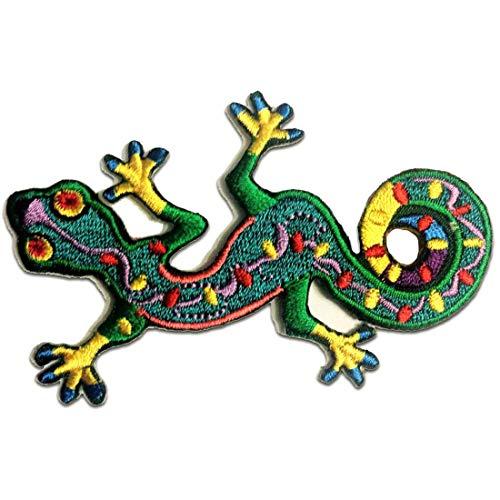 Parches - Gecko salamandra animal - verde - 9.4x6cm - termoadhesivos b
